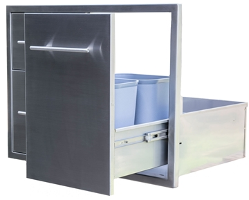 "Picture of BBQ Island Component Built in Stainless Double Drawer and Propane Slide-Out Trash Combo. (31"")"